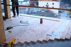 Laying the balcony floor